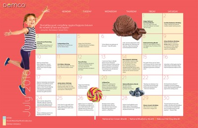 Children's Activity Calendar: July 2016