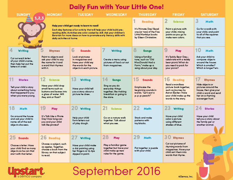 Early Literacy Activity Calendar September