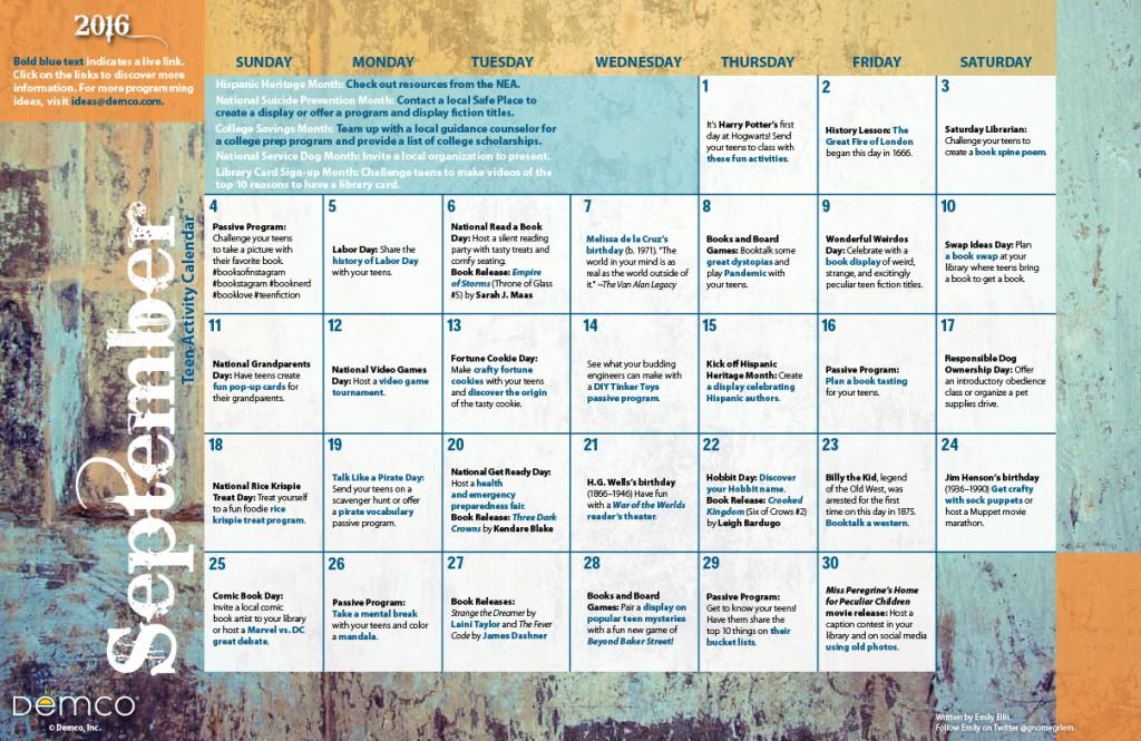 Teen Activity Calendar: September 2016