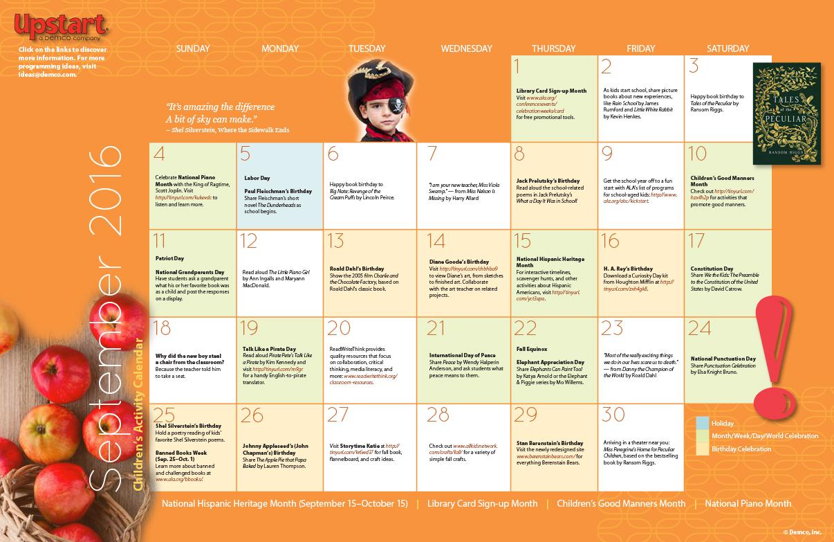 Kids Calendar With Activity Stickers : Children s activity calendar september
