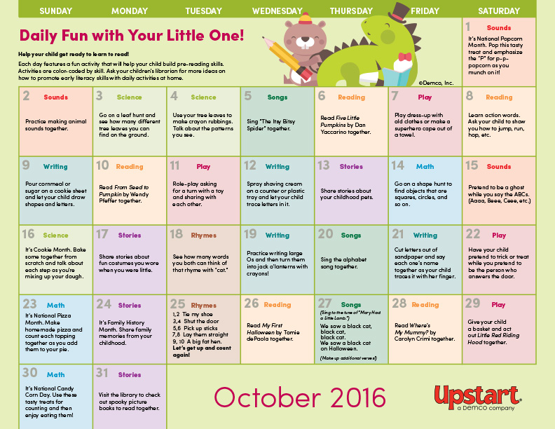 Calendar Lesson Ideas : Early literacy activity calendar october