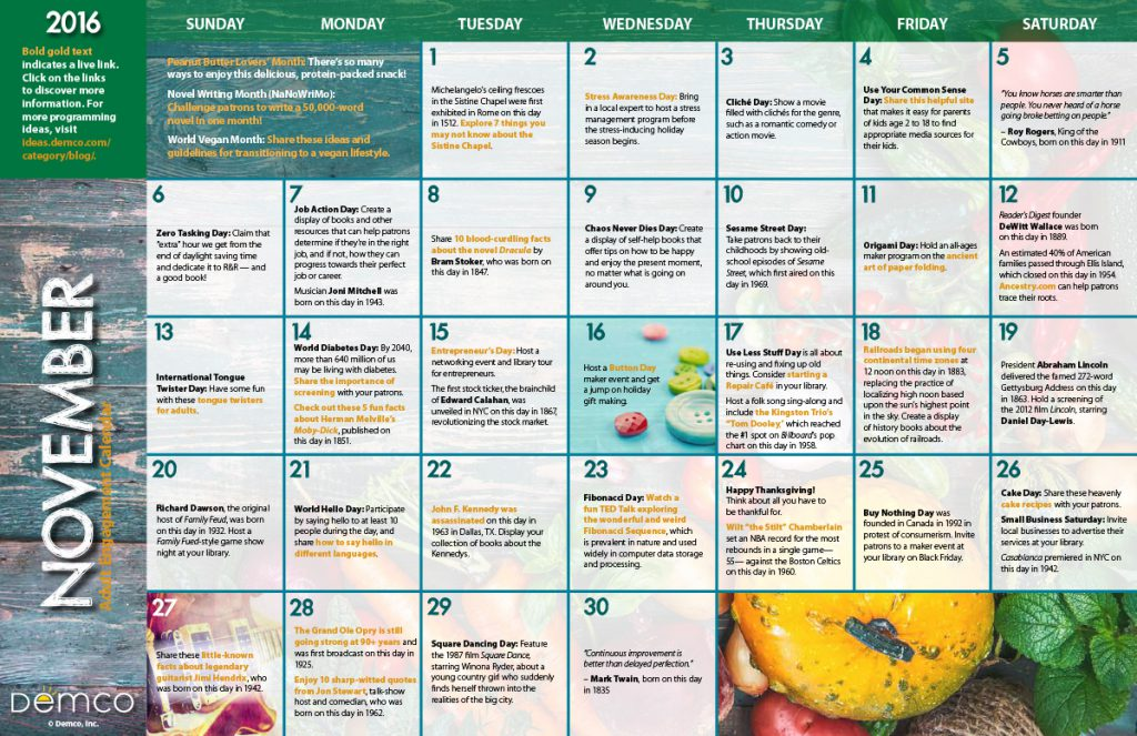 Adult Engagement Calendars: November/December 2016