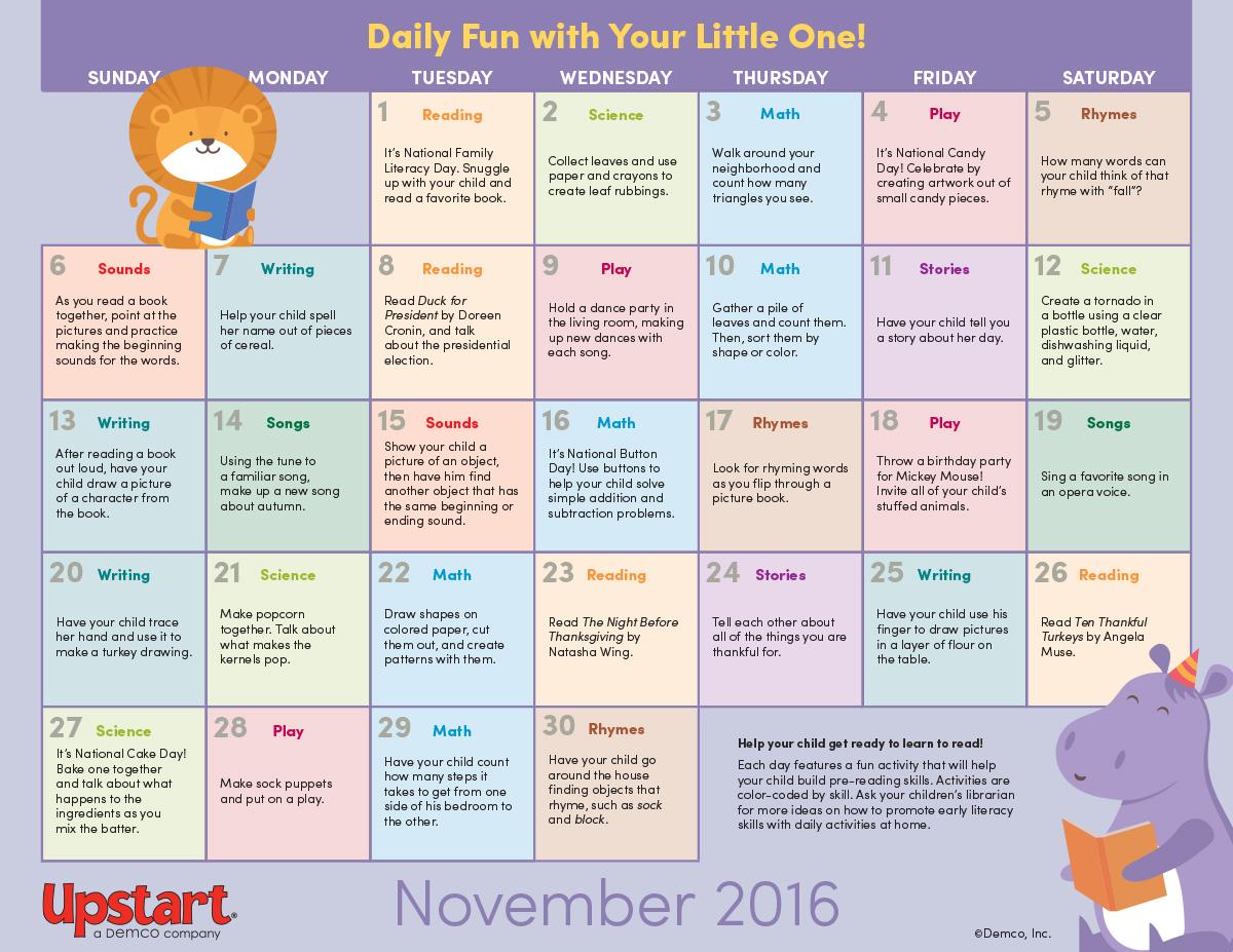 Daily Calendar November 2016 : Early literacy activity calendar november