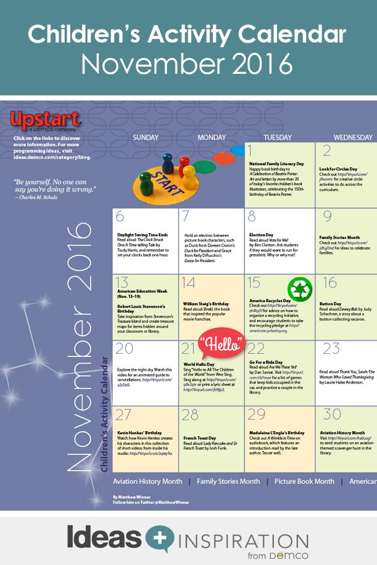 Childrens activity calendar november 2016 solutioingenieria Image collections