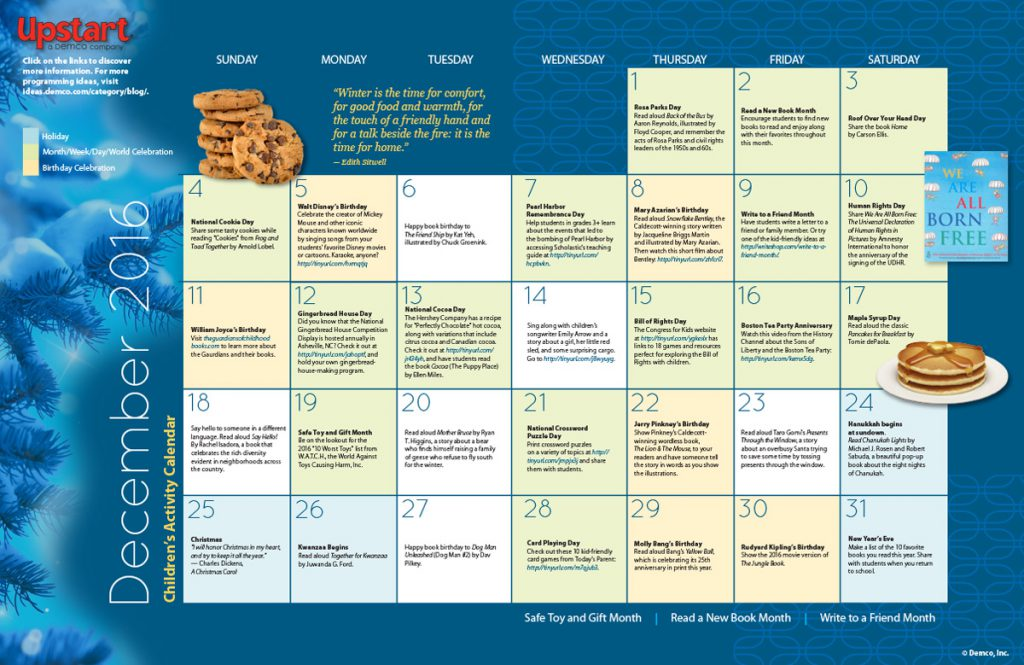 Children's Activity Calendar: December 2016