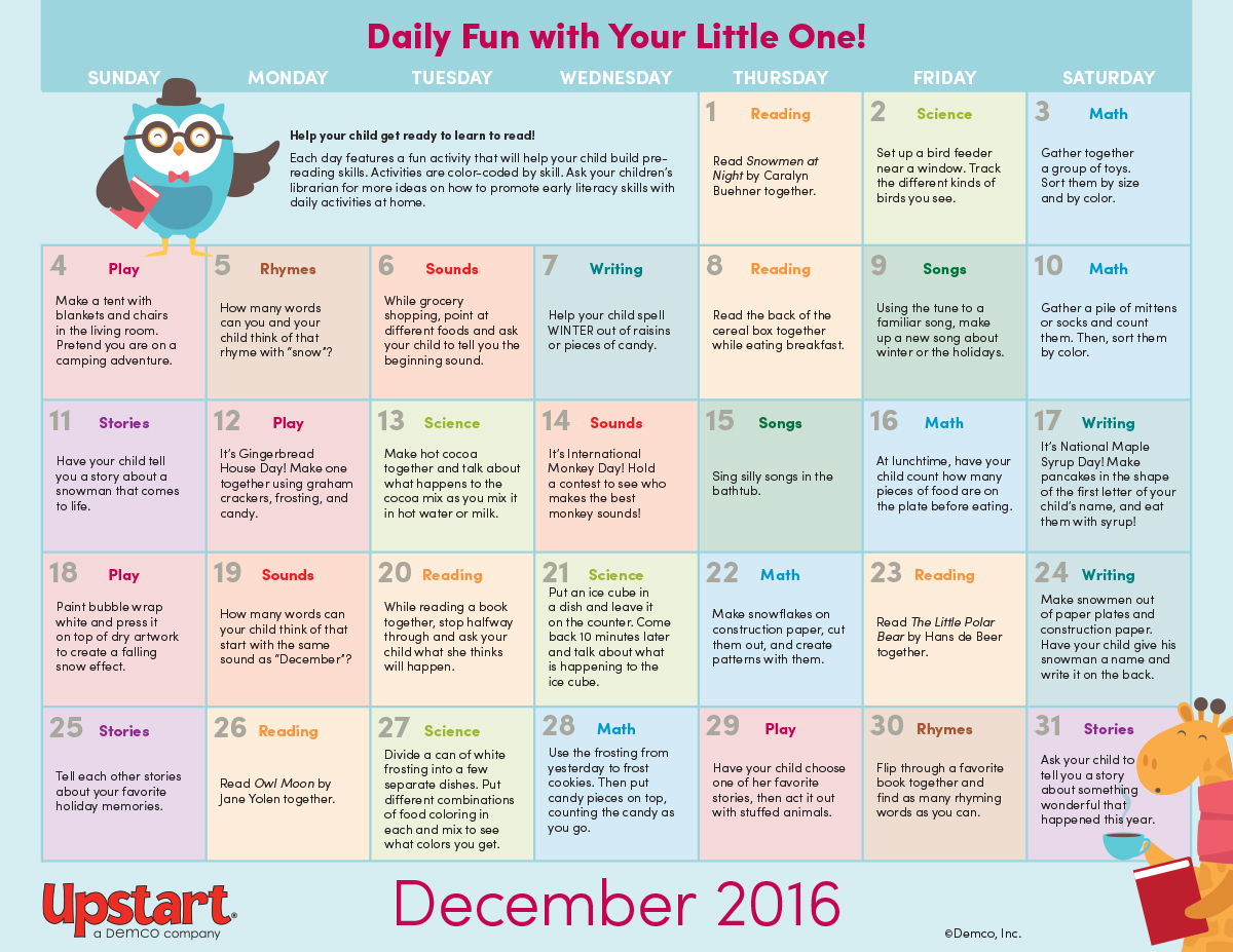 Early Literacy Activity Calendar December 2016 on Preschool Summer Worksheets And Activities