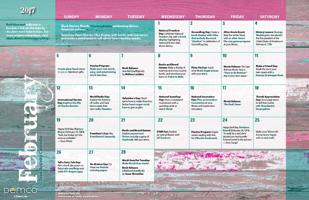 Teen Activity Calendar: February 2017