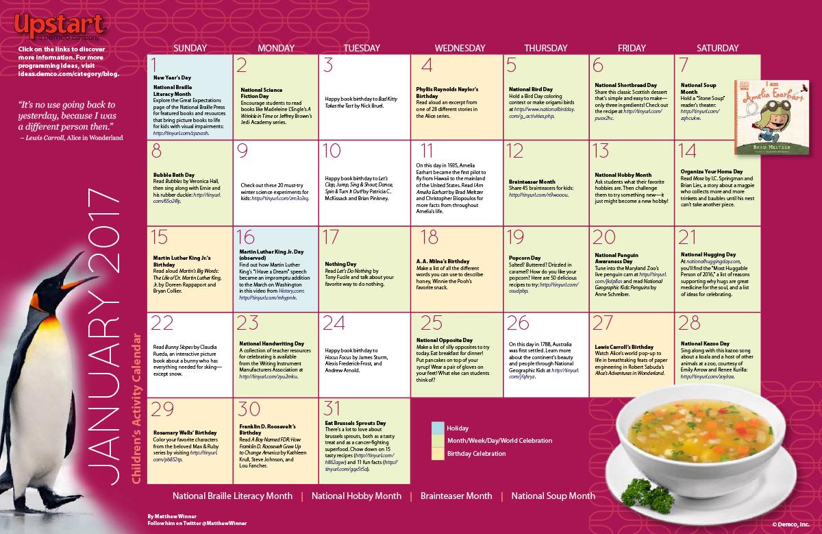Calendar Ideas For January : Children s activity calendar january