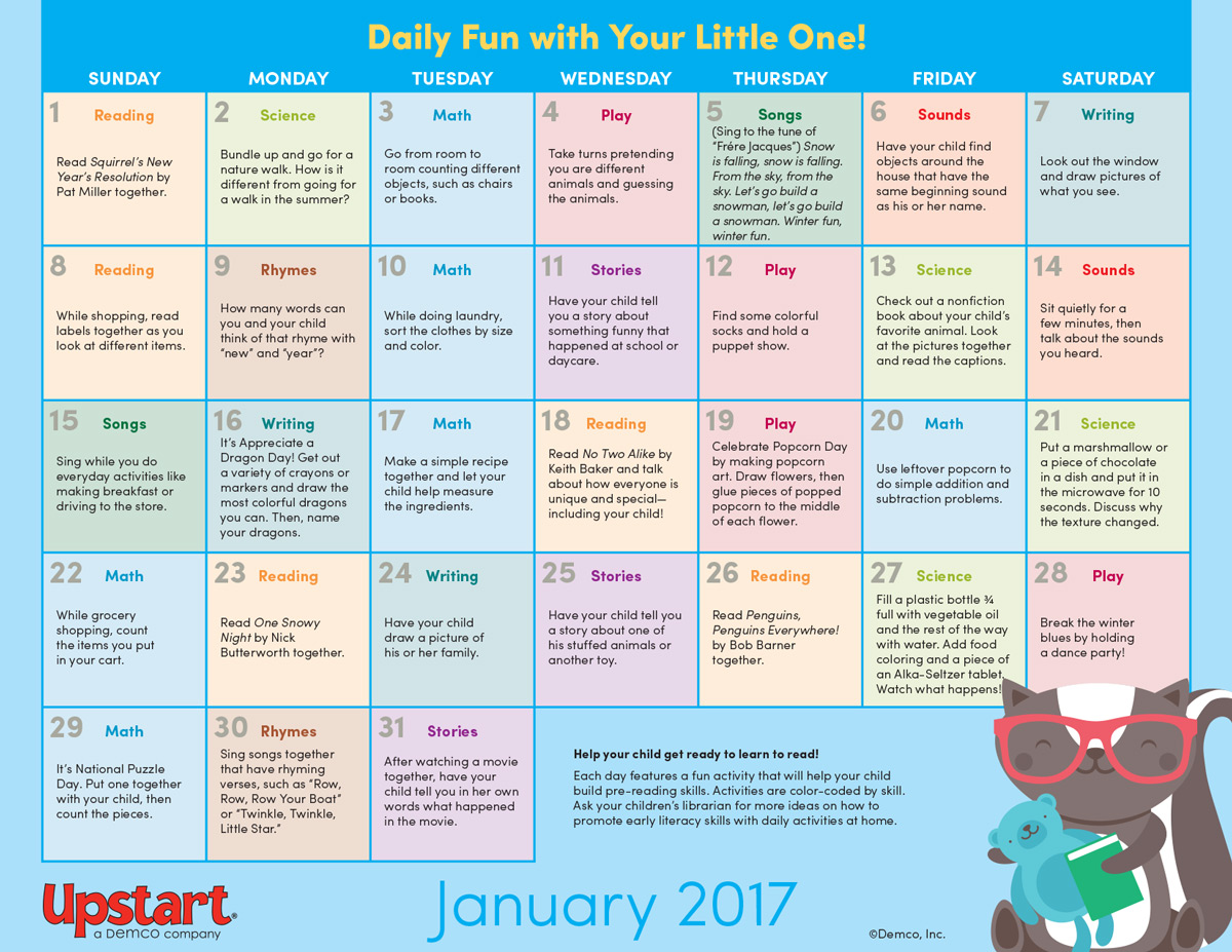 Kindergarten Calendar Common Core : Early literacy activity calendar january
