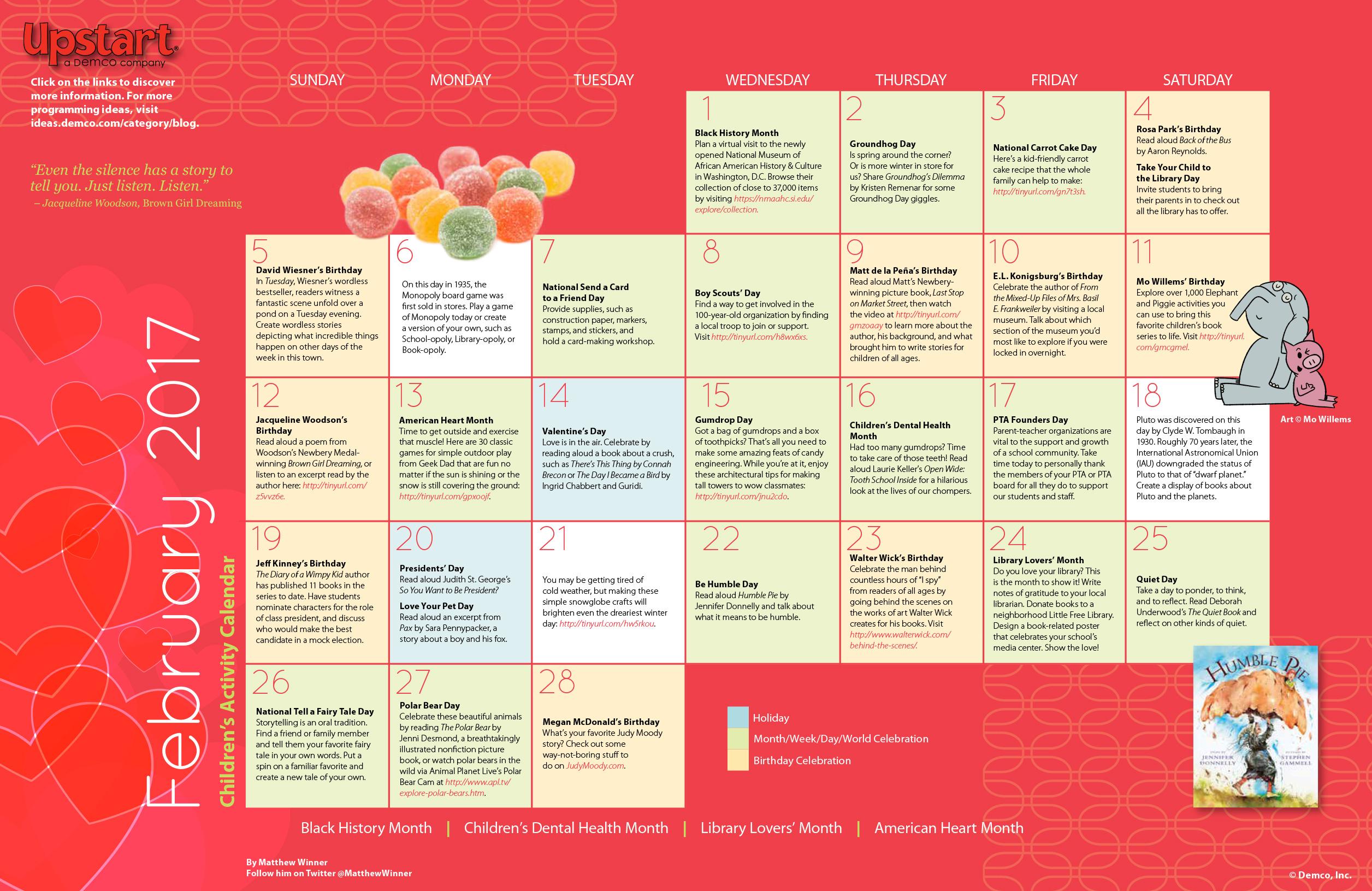 children u2019s activity calendar  february 2017