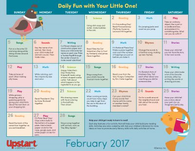 Early Literacy Activity Calendar: February 2017