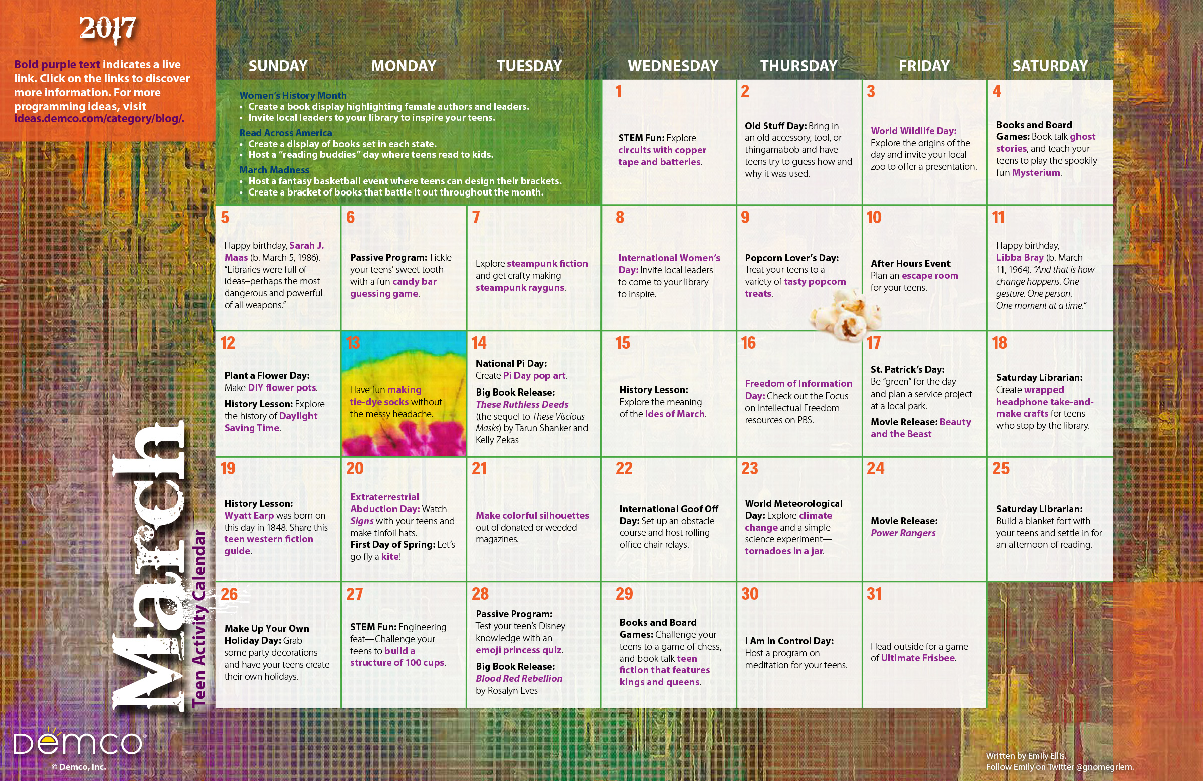 March Calendar Ideas : Teen activities calendar march