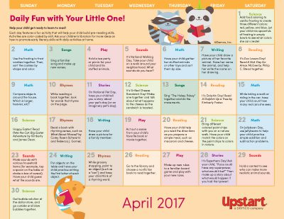 Early Literacy Activity Calendar: April 2017