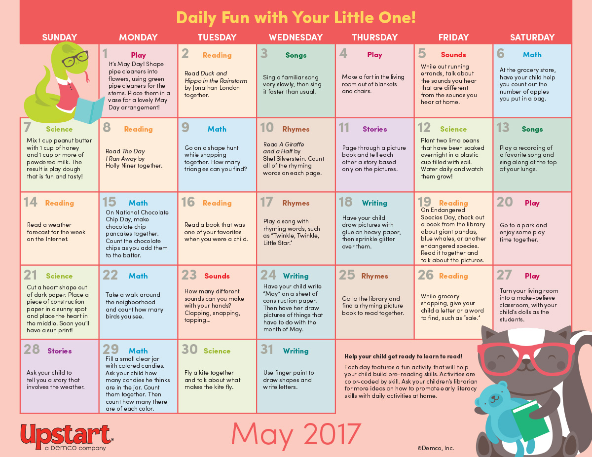Calendar Lesson Ideas : Early literacy activity calendar may