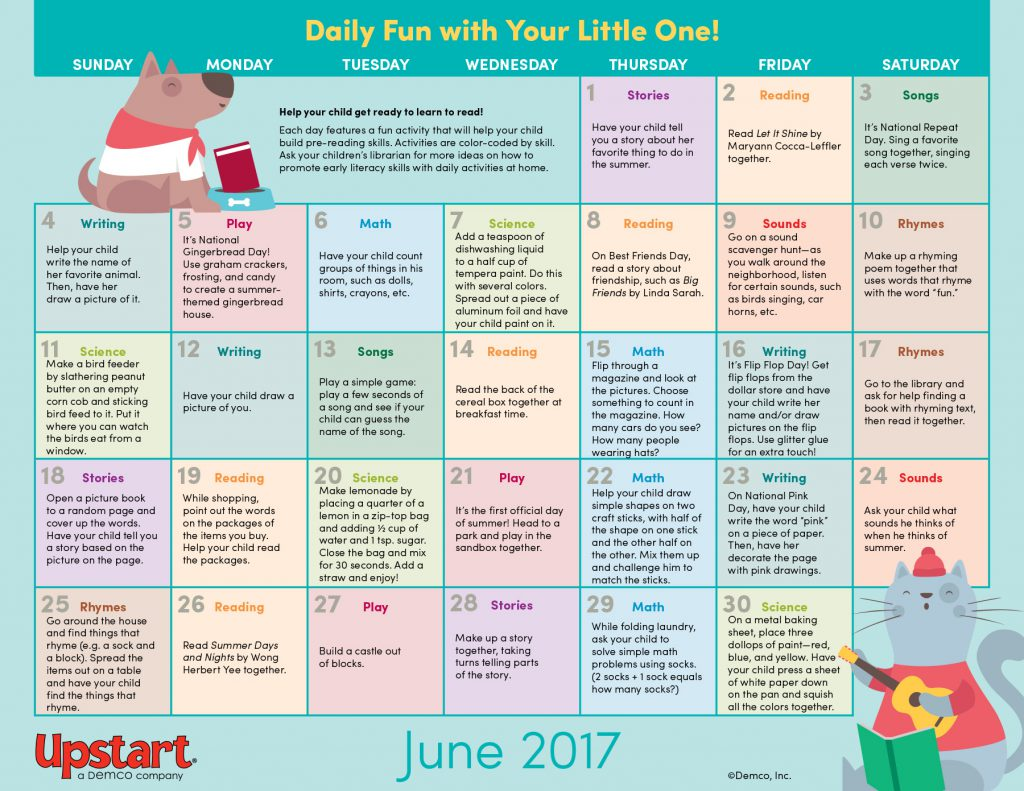 June Calendar Picture Ideas : Early literacy activity calendar june