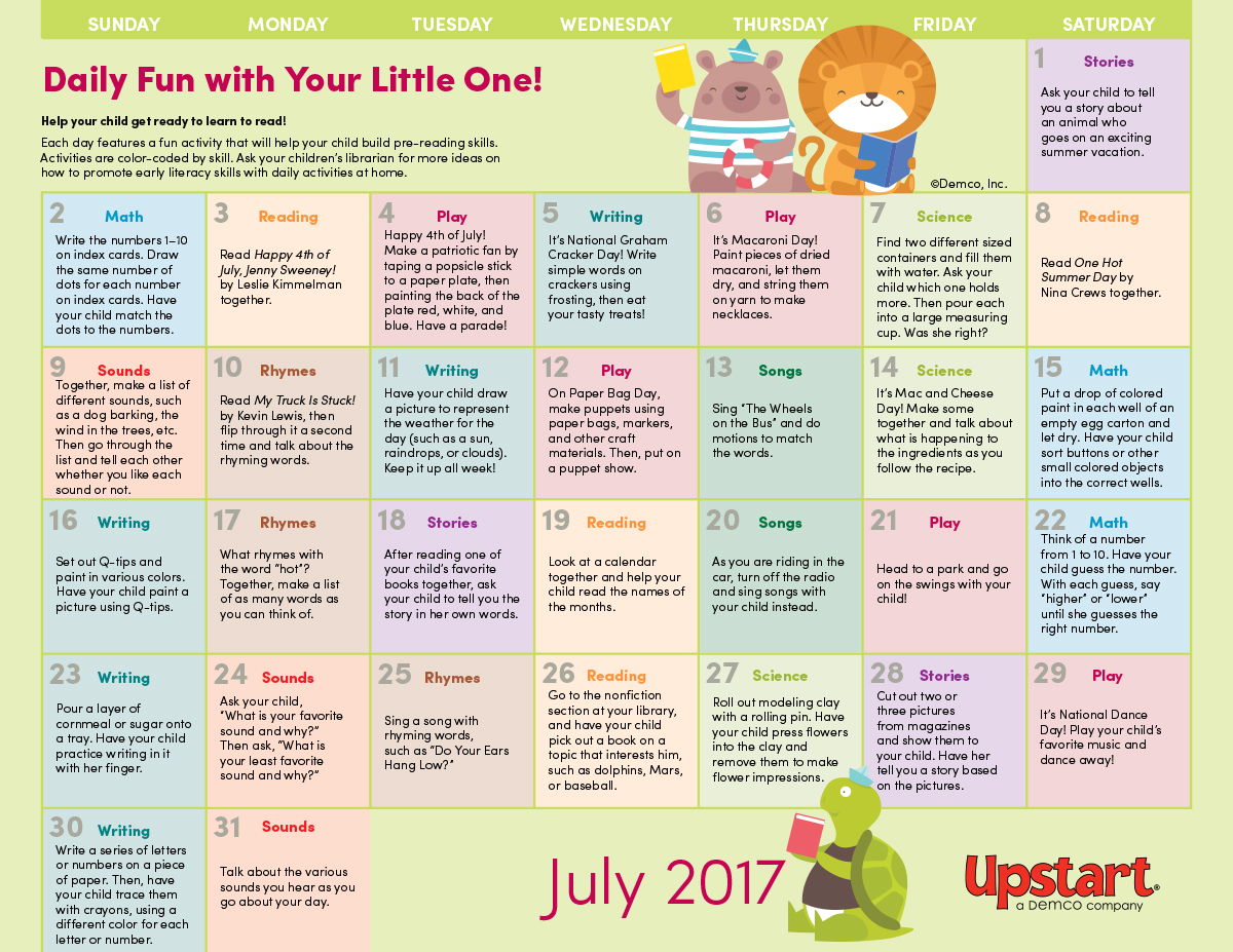 July Calendar Ideas : Early literacy activity calendar july