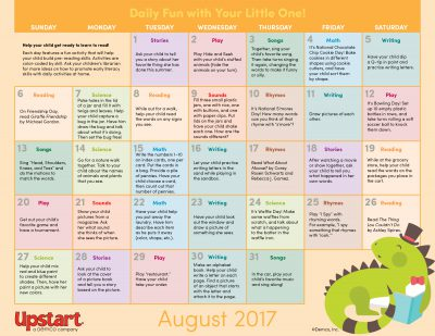Early Literacy Activity Calendar: August 2017