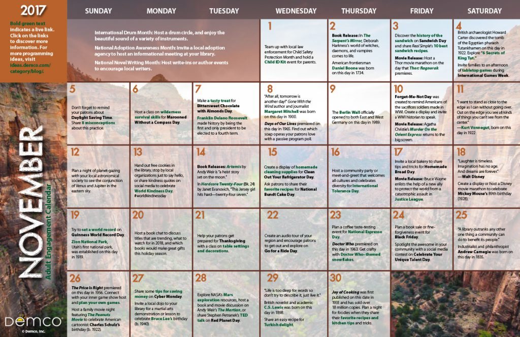 Adult Engagement Calendar: November 2017