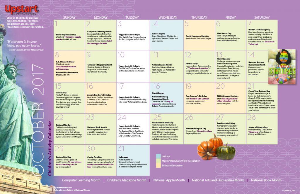 Children's Activity Calendar: October 2017