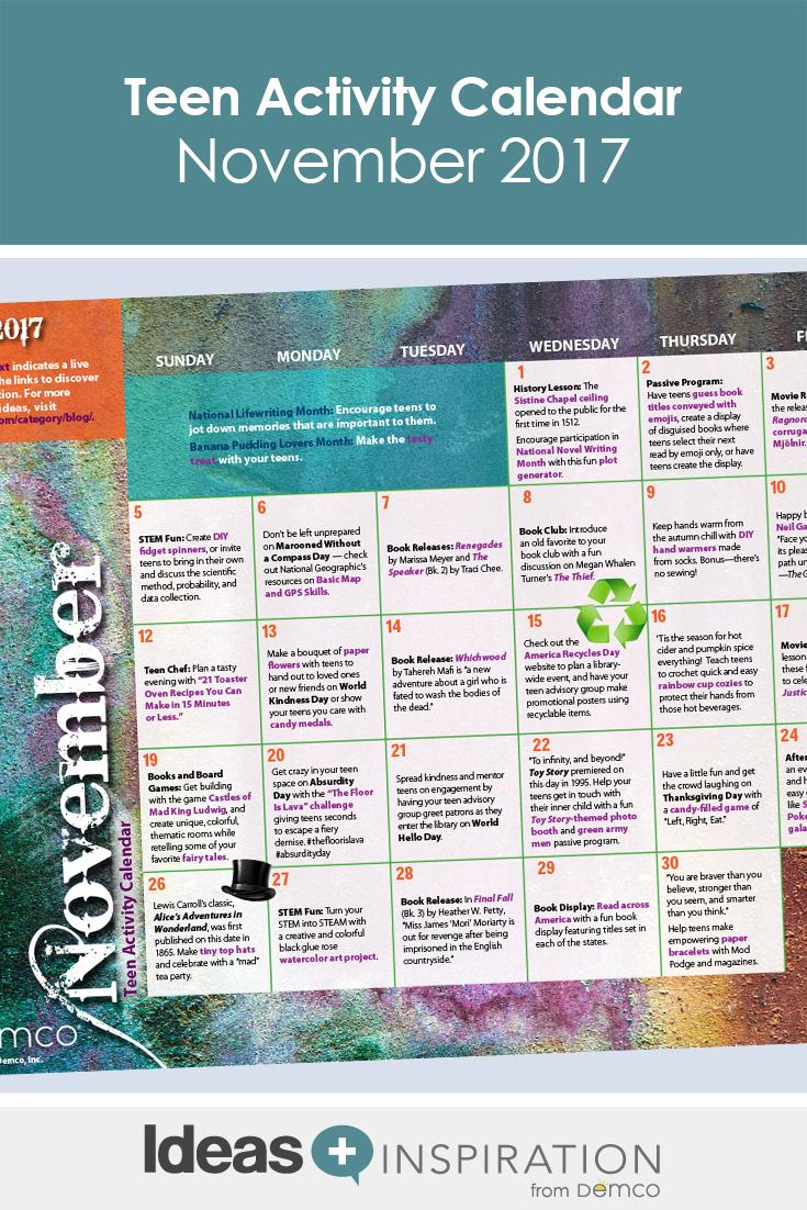 Teen Activity Calendar November 2017