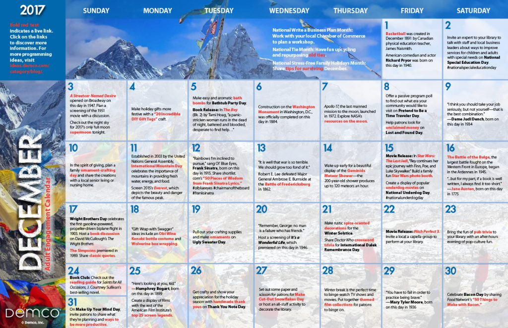 Adult Engagement Calendar: December 2017