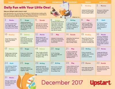 Early Literacy Activity Calendar: December 2017