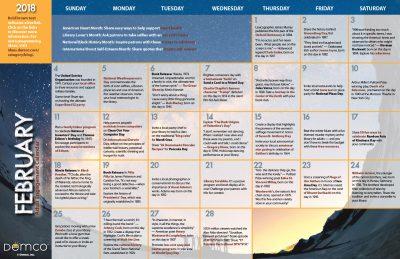 Adult Activity Calendar: February 2018