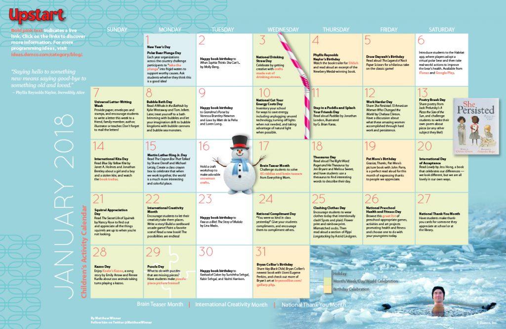 Children's Activity Calendar: January 2018
