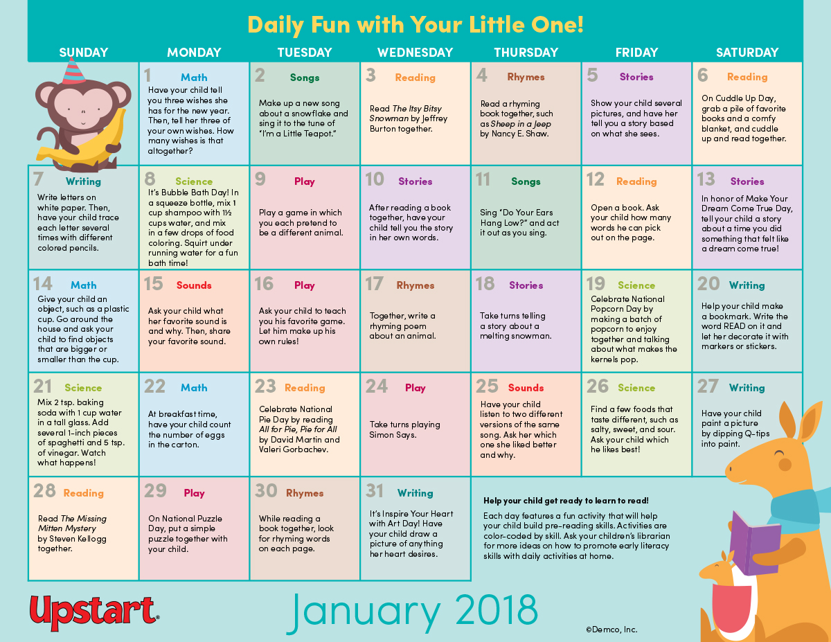 Early Literacy Activity Calendar: January 2018