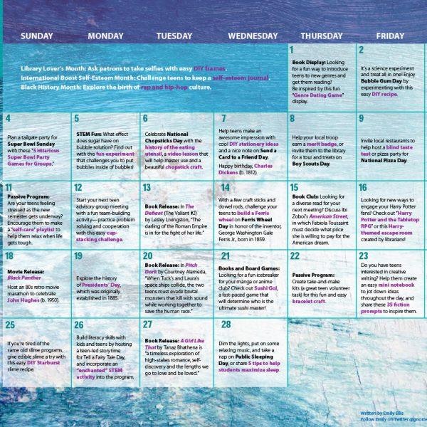 Teen Activity Calendar February 2018
