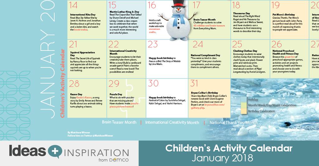 January 2018 Calendar Kids : Children s activity calendar january