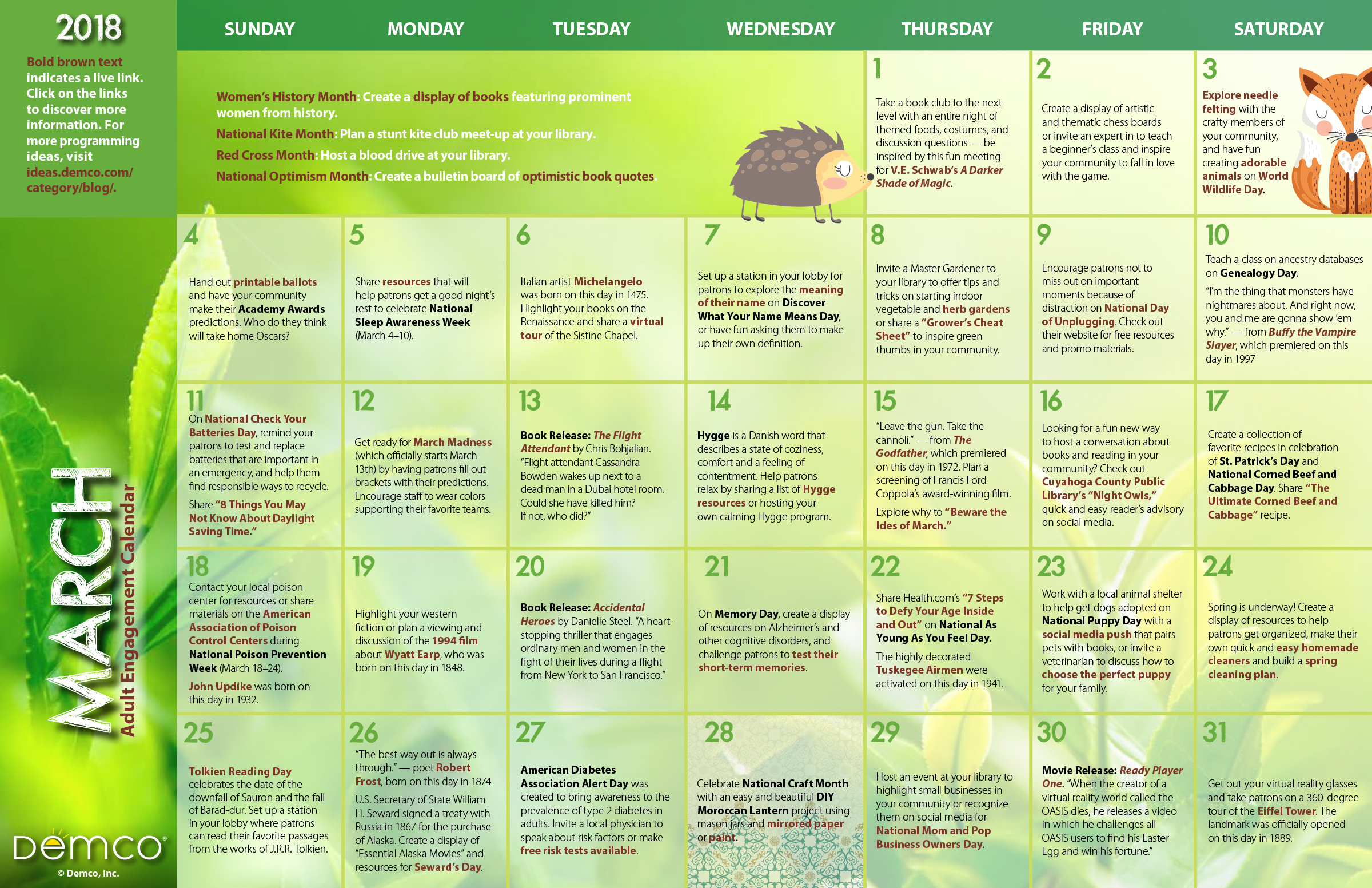 March Calendar Ideas : Adult activity calendar march