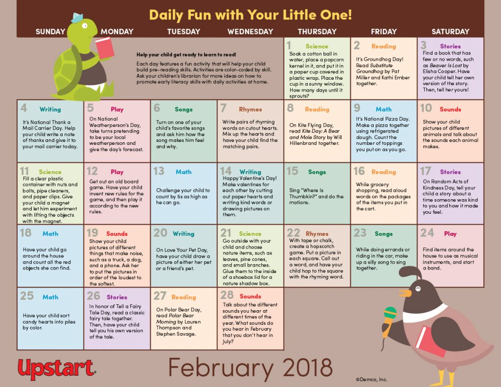 Early Literacy Activity Calendar: February 2018