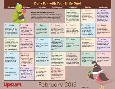 Early Literacy Activity Calendar: February 2018