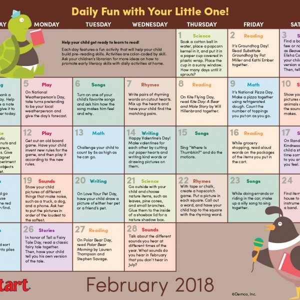 Early Literacy Calendar February 2018