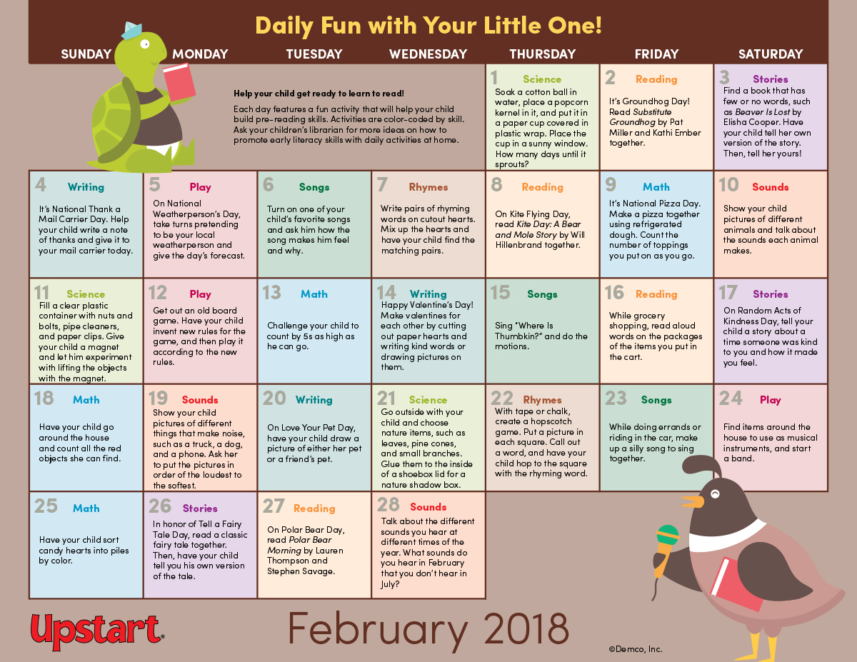 early literacy activity calendar february 2018