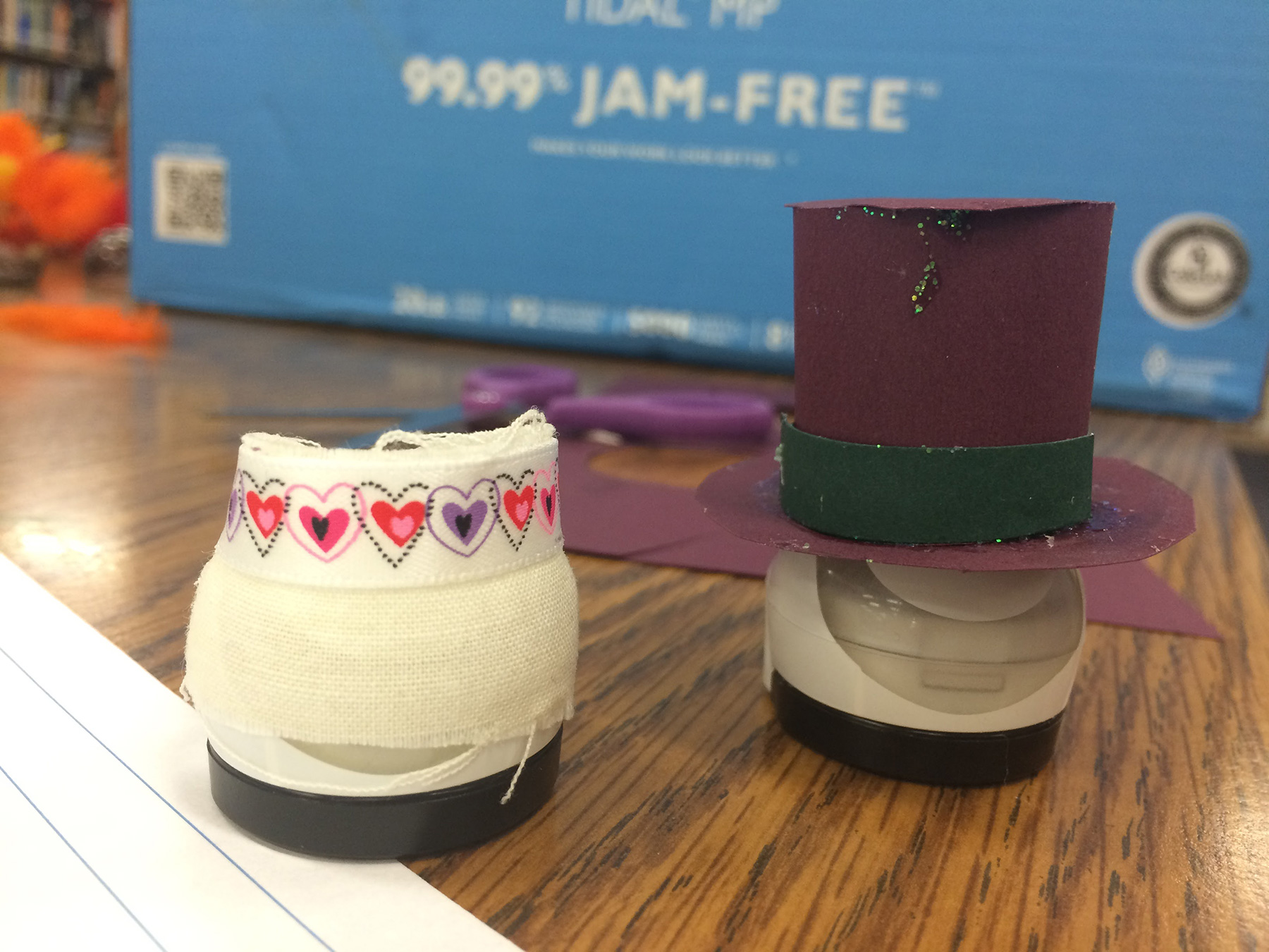 Ozobots dressed for their wedding in a student's original story.