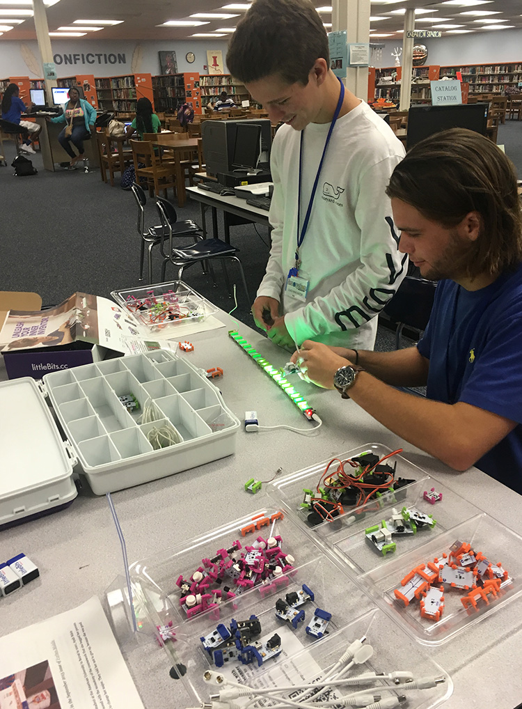 Students tinkering with the LED littleBits.