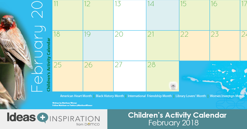 childrens activity calendar february 2018