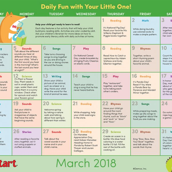 Early Literacy Calendar March 2018