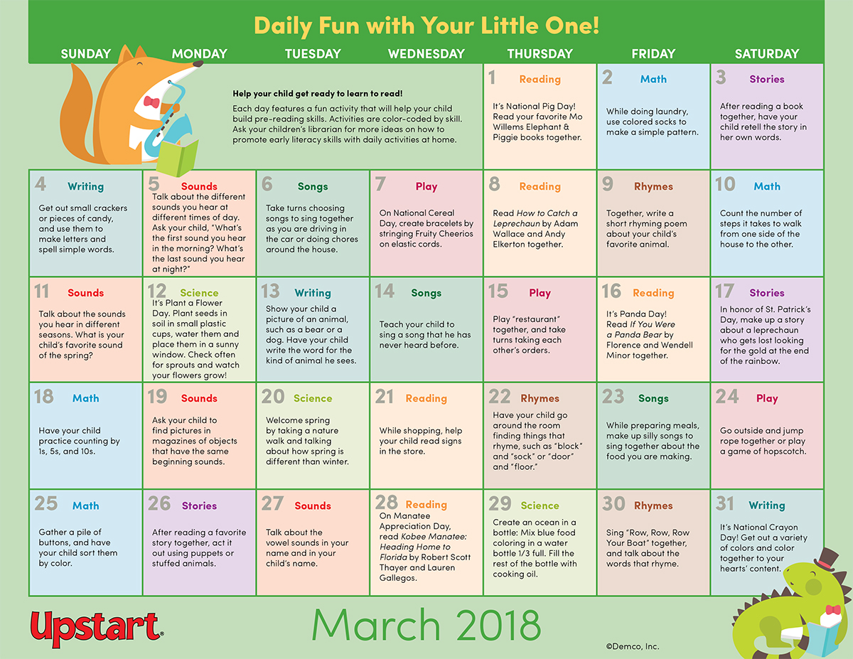 Early Literacy Activity Calendar: March 2018