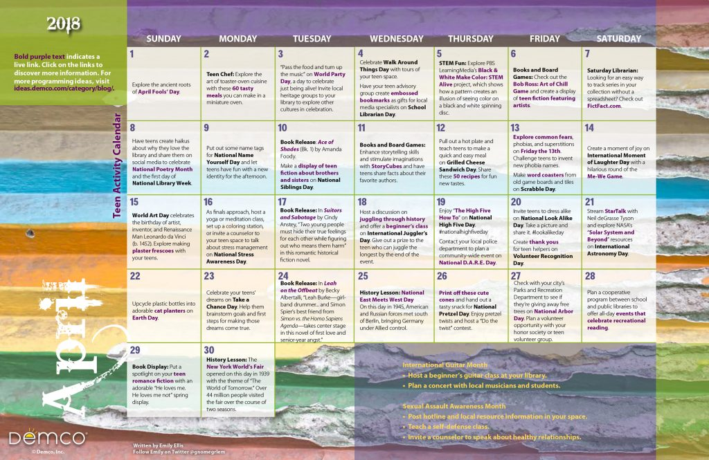 Teen Activity Calendar: April 2018