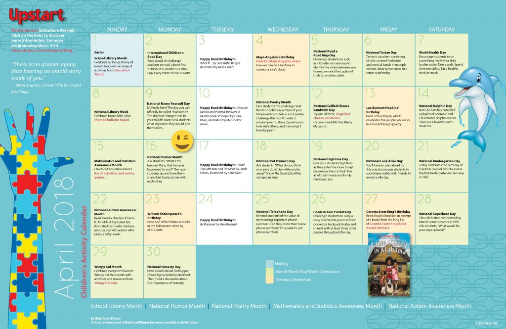 Children's Activity Calendar: April 2018