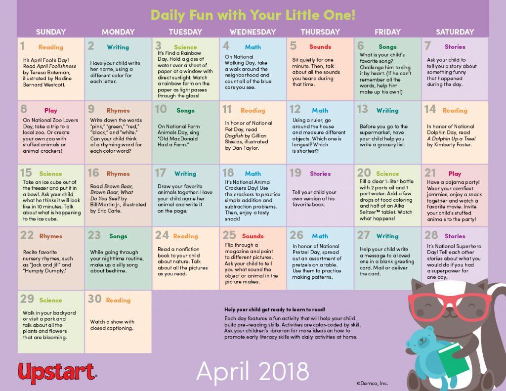 Early Literacy Activity Calendar: April 2018
