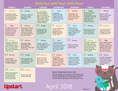 Early Literacy Activity Calendar: April 2018