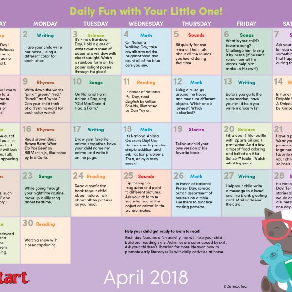 Early Literacy Activity Calendar April 2018