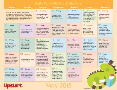 early literacy activity calendar may 2018