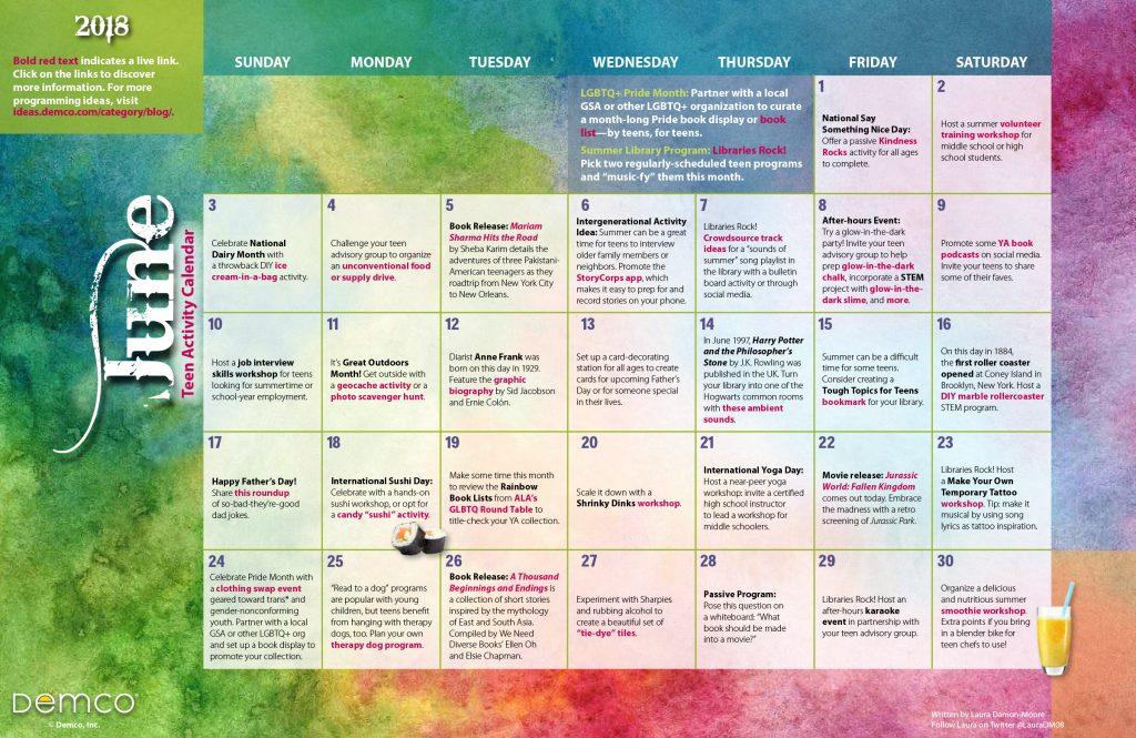 Teen Activity Calendar: June 2018