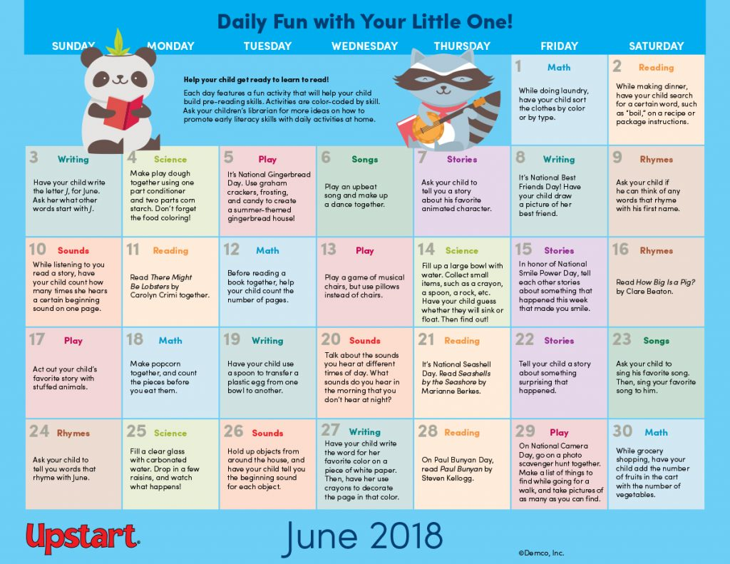 Calendar Activities 2018 : Early literacy activities calendar boost pre reading