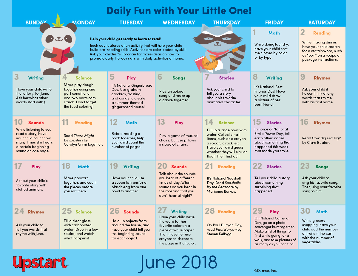 early literacy activities calendar june 2018